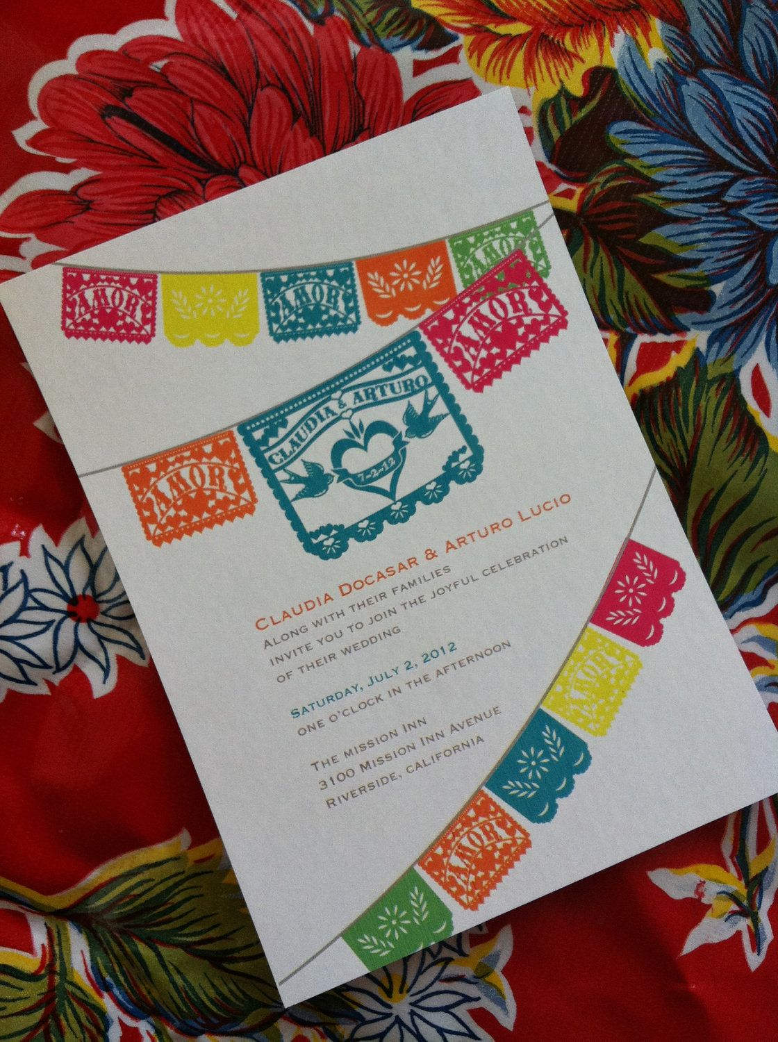 a431e358b037 Love Birds Papel Picado Fiesta Wedding Invitation and Response RSVP cards I  design you print- like the bunting idea for the service of blessing invites