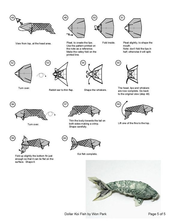 Koi fish diagram 5 of 5 money origami dollar bill art money dollar origami pinterest for Origami koi fish