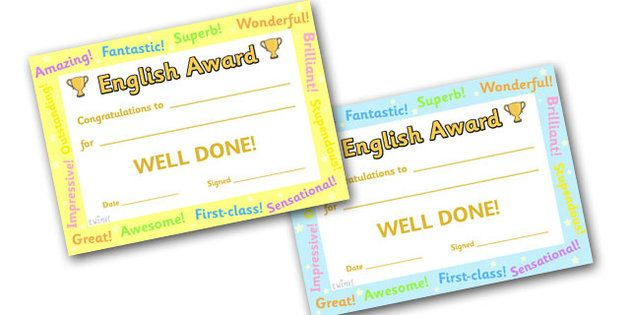 English Award Certificate  English Award Certificate English