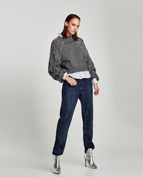 rivenditore di vendita 252b5 47bb2 Immagine 1 di PULLOVER CROPPED PERLE di Zara | Embroidery ...