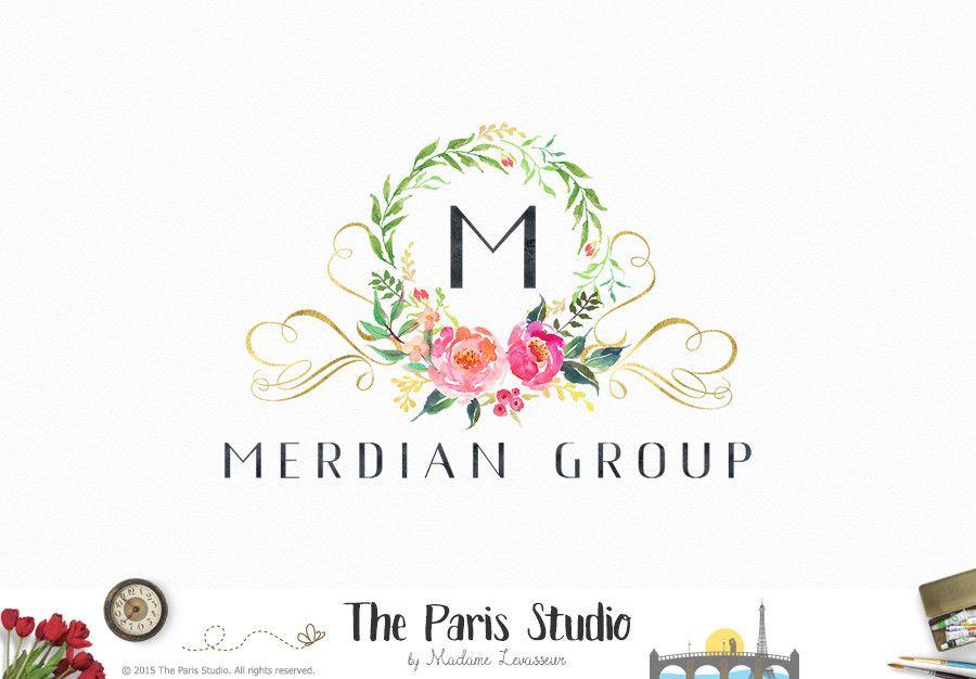 Watercolor Wreath Floral Logo Design