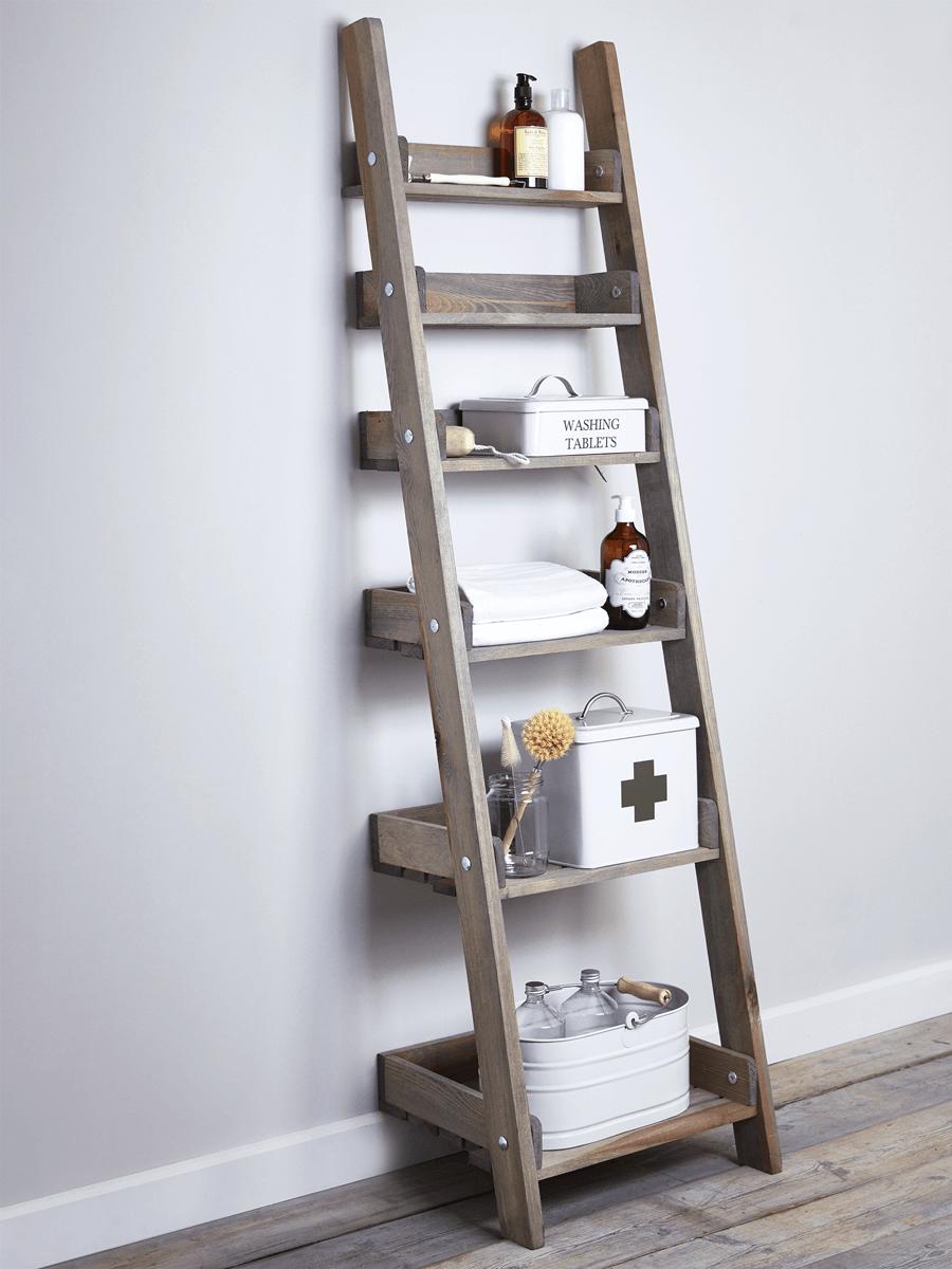 watch 5079e 01456 Rustic Wooden Ladder Shelf - Slim | nappali in 2019 | Wooden ...
