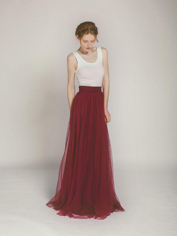 Long Marsala And Ivory Two Tone Bridesmaid Dress Swbd003