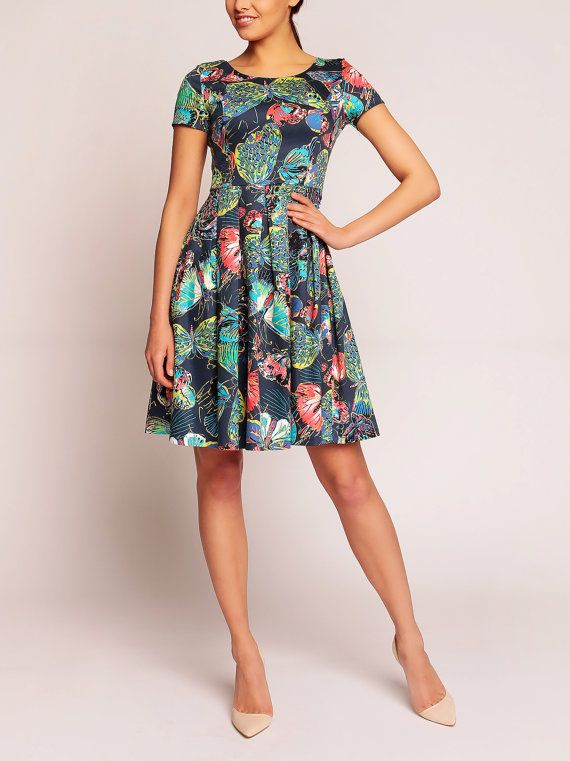 Colorful skater flared pleated flowers dresses / short by Mesires