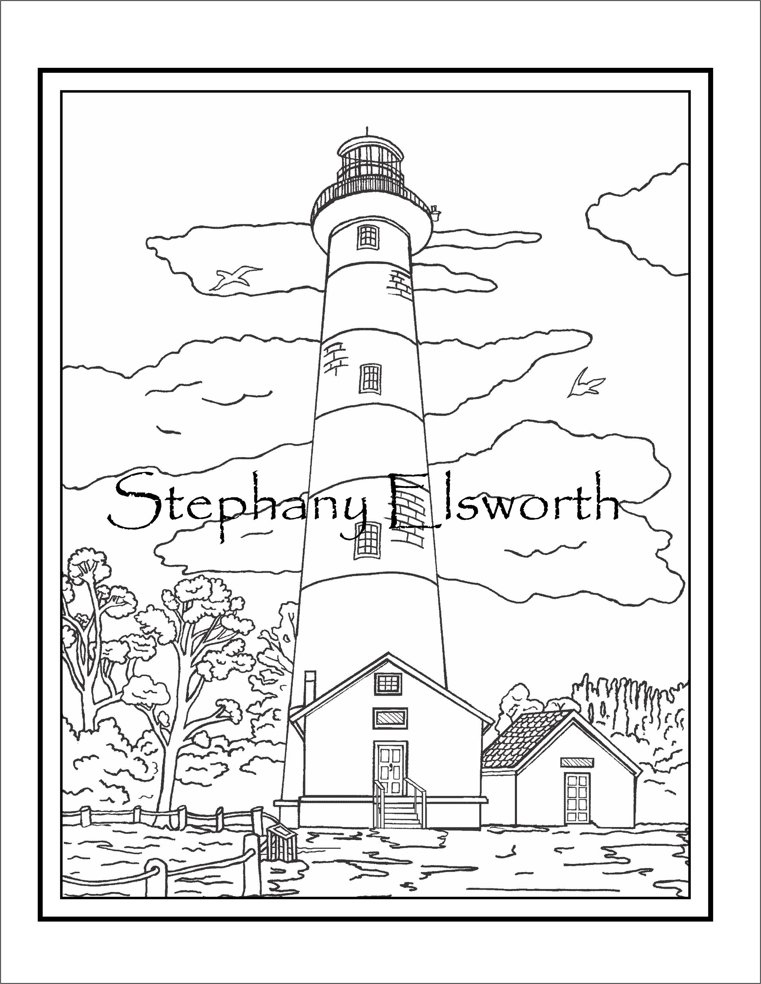 Assateague Island Lighthouse Free Instant Download Pdf Printable Coloring Page Art And Travels Printable Coloring Pages Lilac Painting Coloring Pages