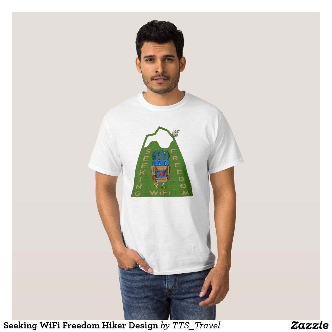 Design t shirt zazzle - Seeking Wifi Freedom Hiker Design T Shirt