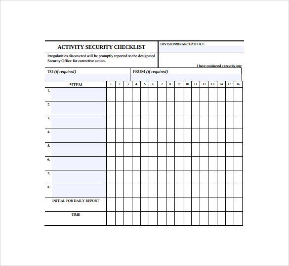 Blank Checklist Template Download Free Document Pdf Psd Printable