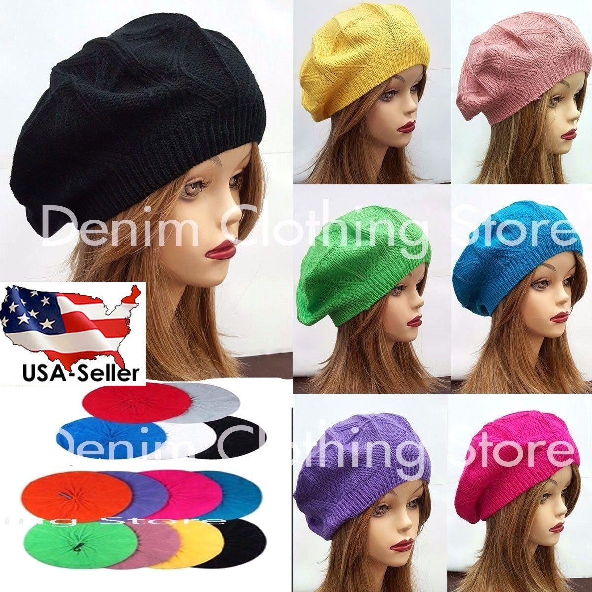 29702249b Women Summer Spring Winter Crochet Knit Slouchy Beanie Beret Cap ...