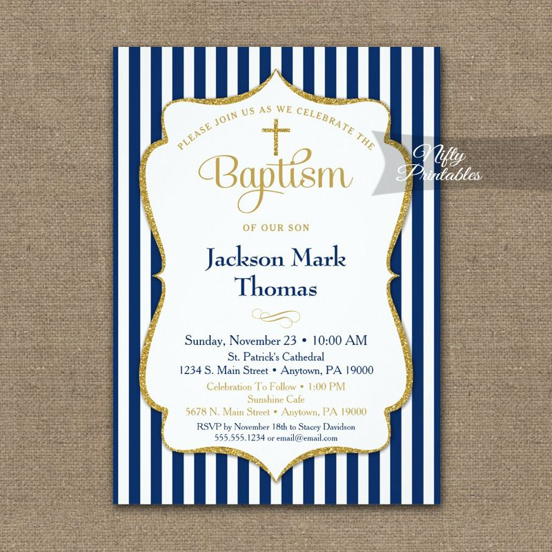 navy blue gold baptism invitation boys elegant stripe printed