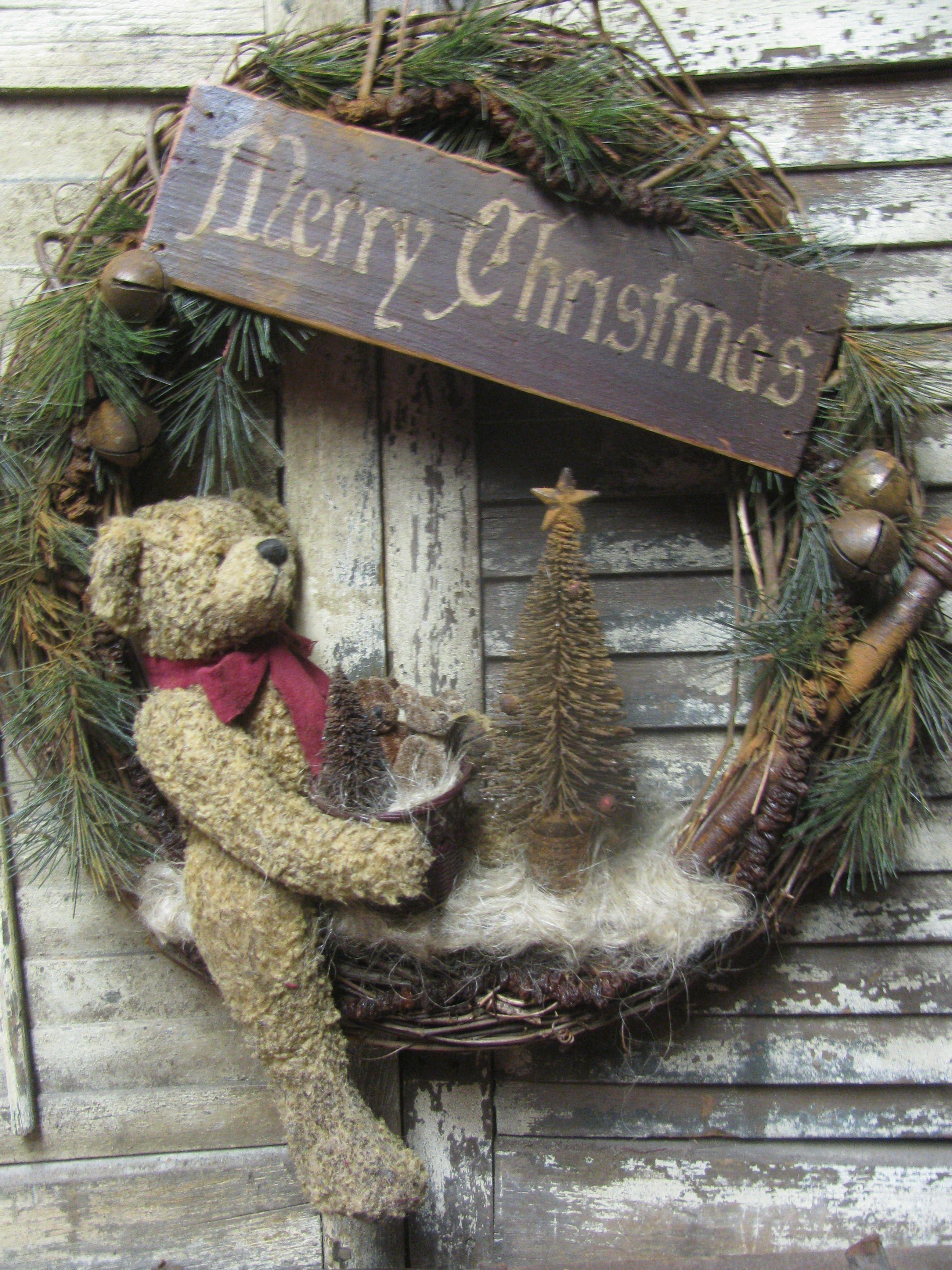 Photo of Merry Christmas Bear Wreath ~ By folk Artist Sue Corlett. Visit my online shoppe…
