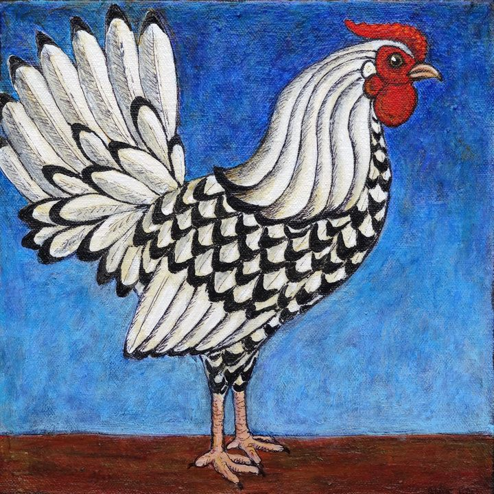 Stacey Kurtz Art For Mural In Boys: 8x8 Archival Print Of Original Acrylic Rooster By