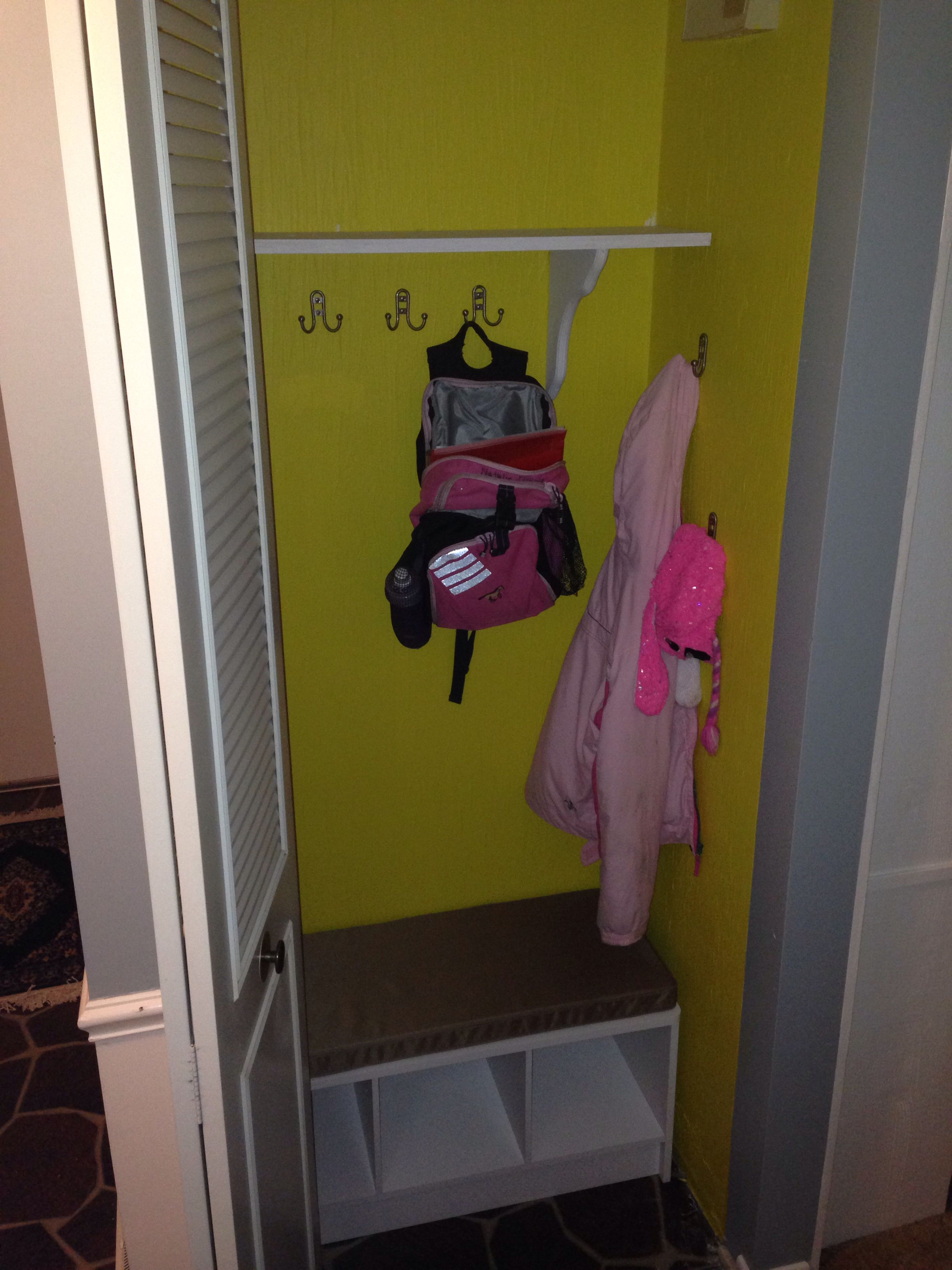 Hooks to hang sports bags, backpack, other bags.  Small panty/closet turned into a kid closet.