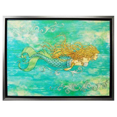 Rightside Design Pearl of the Sea by Lynn McKernan Framed Mermaid Canvas Art