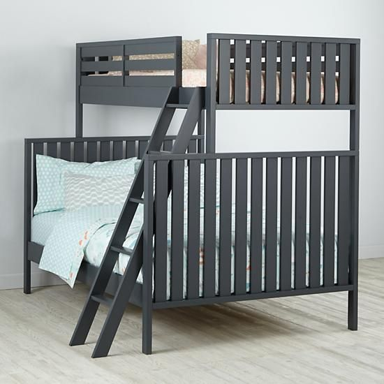 Cargo Twin Over Full Bunk Bed Charcoal The Land of Nod