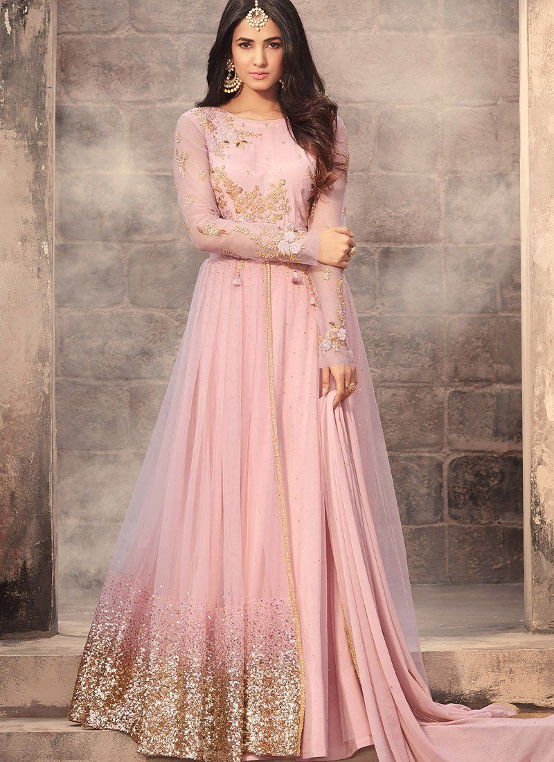 3f1776fb8c Buy Sonal Chauhan baby pink net wedding anarkali in UK, USA and Canada