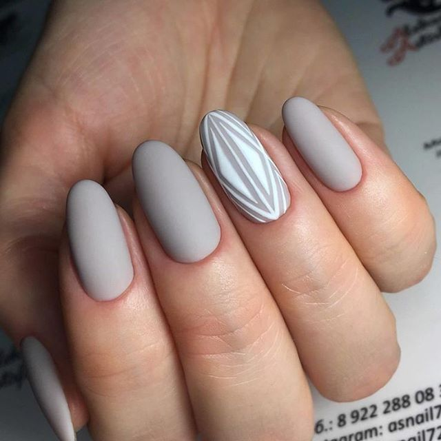 Matte Grey Nails With Negative E