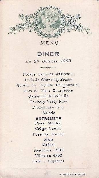 This Vintage French Menu From  Would Be Great To Bring The