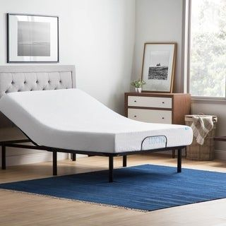 Lucid Comfort Collection 12-inch Gel Memory Foam Mattress and Standard Adjustable Bed Set (Full - Medium/Firm), Black