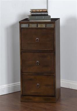 Santa Fe Dark Chocolate Wood 3 Drawers File Cabinet