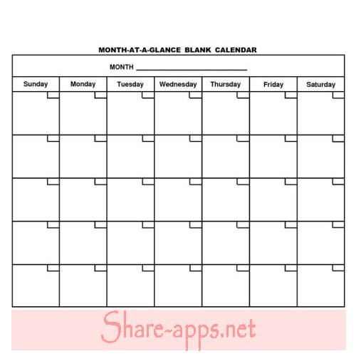 blank calendar template word