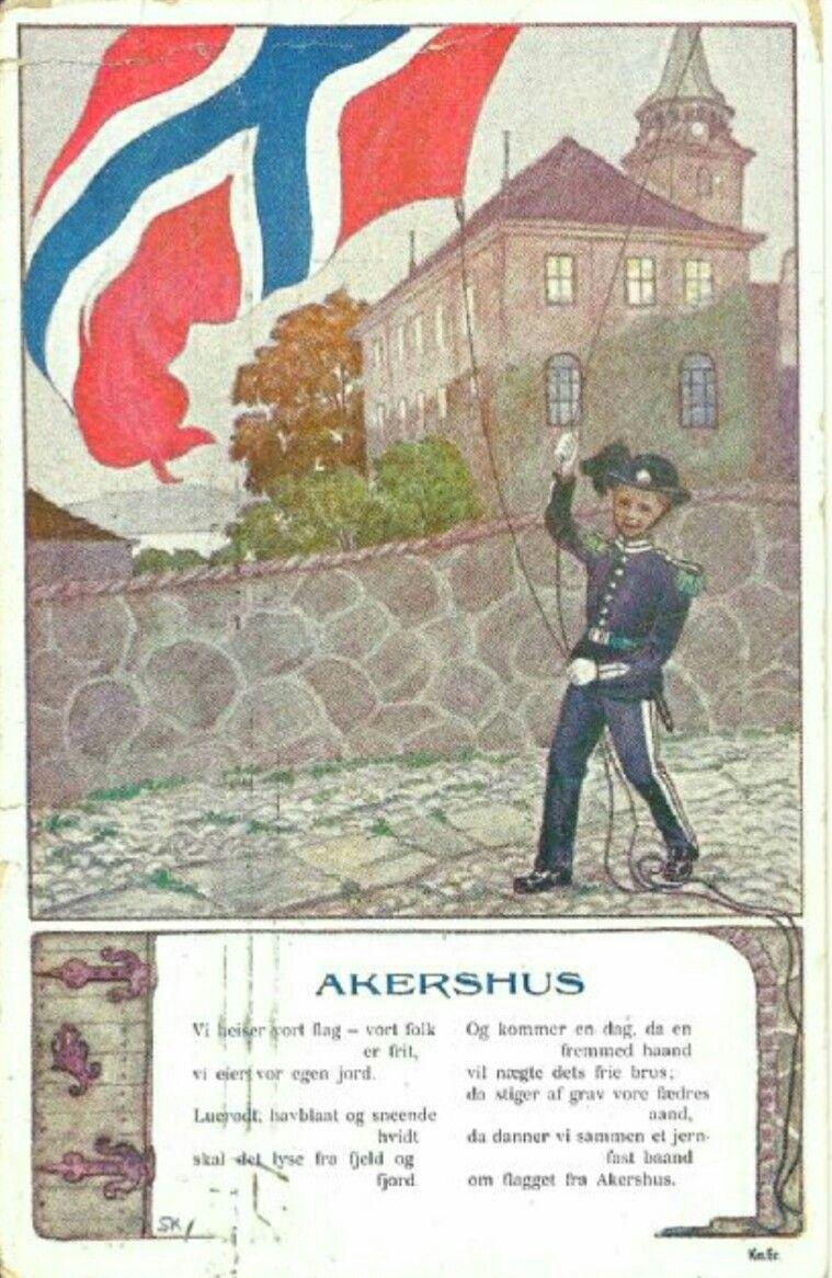 Patriotisk kort Sverrer Knudsen Akershus Festning Utg Abels kunstforlag brukt 1907