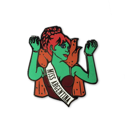 """""""If I knew then what I know now, I wouldn't have had my little accident."""" Ooh, a second edition of Ludlow Luna's Miss Argentina pin ishere! 1.75"""". Hard enamel,"""