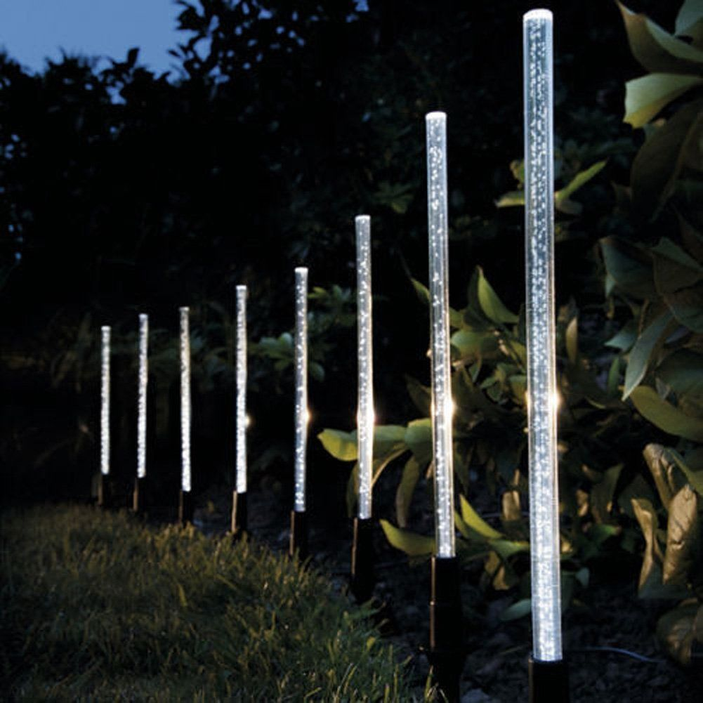 Whitelotous 8 Pack Whites Solar Tube Lights Solar Acrylic Bubble Pathway Decoration Garden Stick Stake Light Set Solar Tube Lighting Outdoor Solar Lights Solar Powered Garden Lights