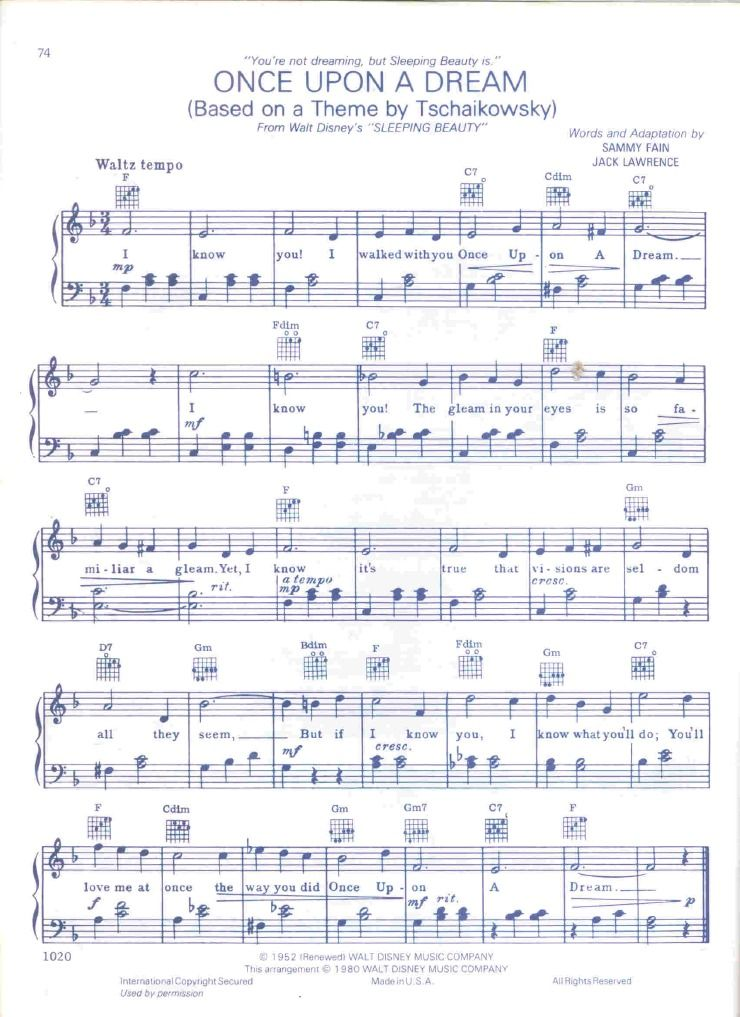 Piano Sheet music for the song Once Upon a Dream from ...