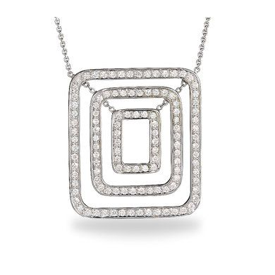 Discover the Piece Collection by Mimi So at Ritani. This 18kt white gold pendant is made up of concentric rectangles lined with glittering pave diamonds. Available in 18kt White Gold | Ritani