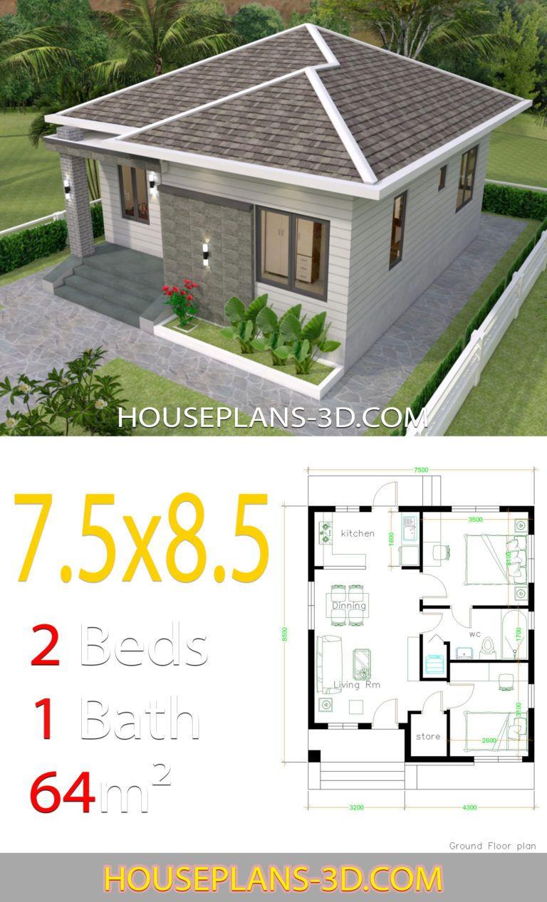 House Design 7 5x8 5 With 2 Bedrooms House Plans 3d Rumah Indah Arsitektur Rumah Desain Rumah