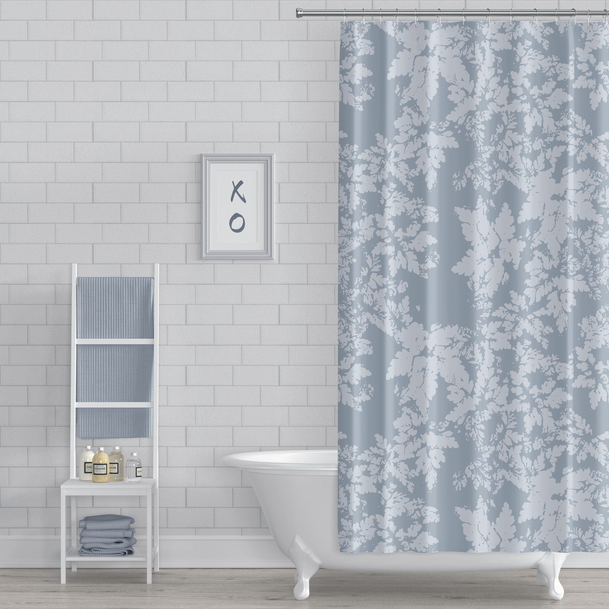 Blue Gray Leaves Rustic Modern Botanical Print Shower Curtain