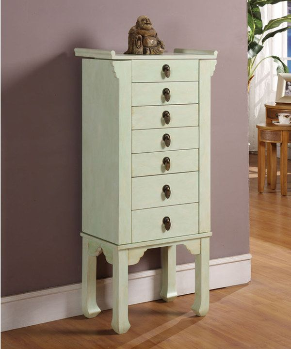 Rustic Jewelry Armoire Look At This Rustic Green Sixdrawer Ningbo Chinese Jewelry Armoire