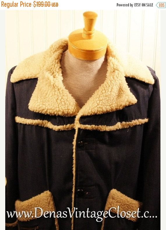 60% OFF Black Friday Sale Retro Vintage 60s Denim JC Penneys Sherpa Jacket Fleece Lined Coat SZ Xl