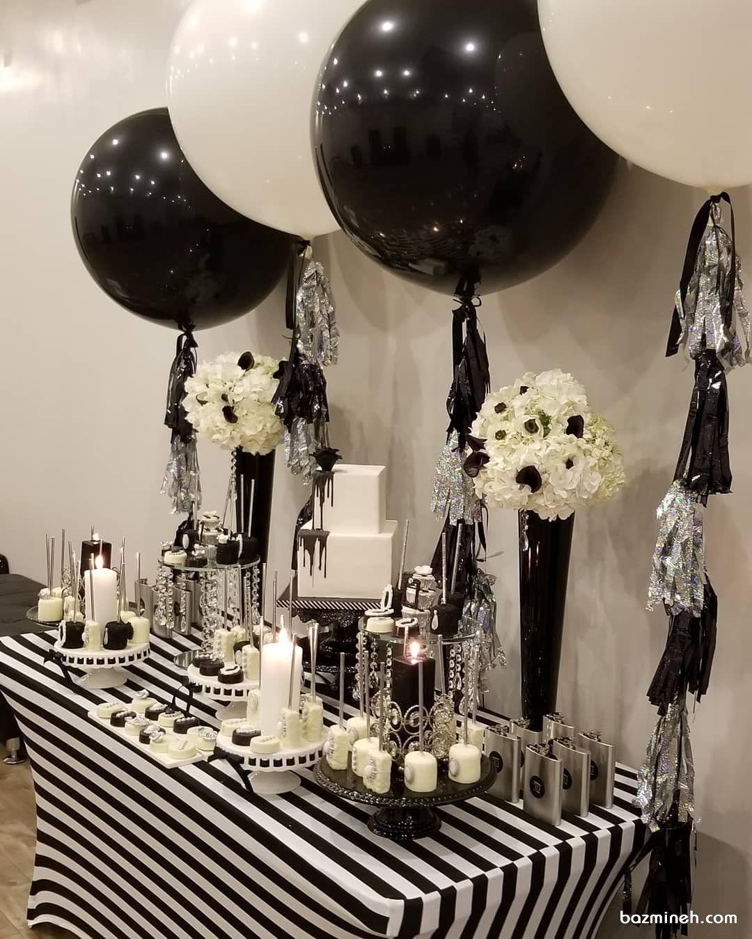 دکوراسیون و بادکنک آرایی شیک جشن تولد یا سالگرد ازدواج با تم سفید مشکی Ceiling Lights Decor Chandelier