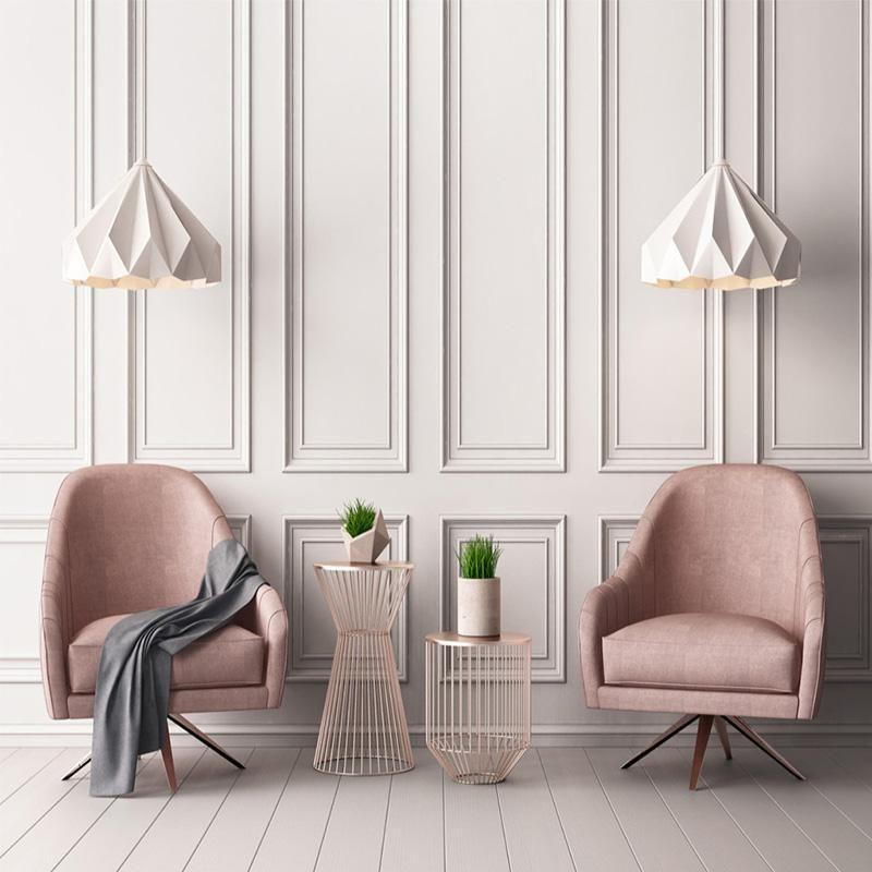 Custom 3D Modern Style Pink Square Frame Pattern Wallpaper Mural (㎡) #homedécoraccessories
