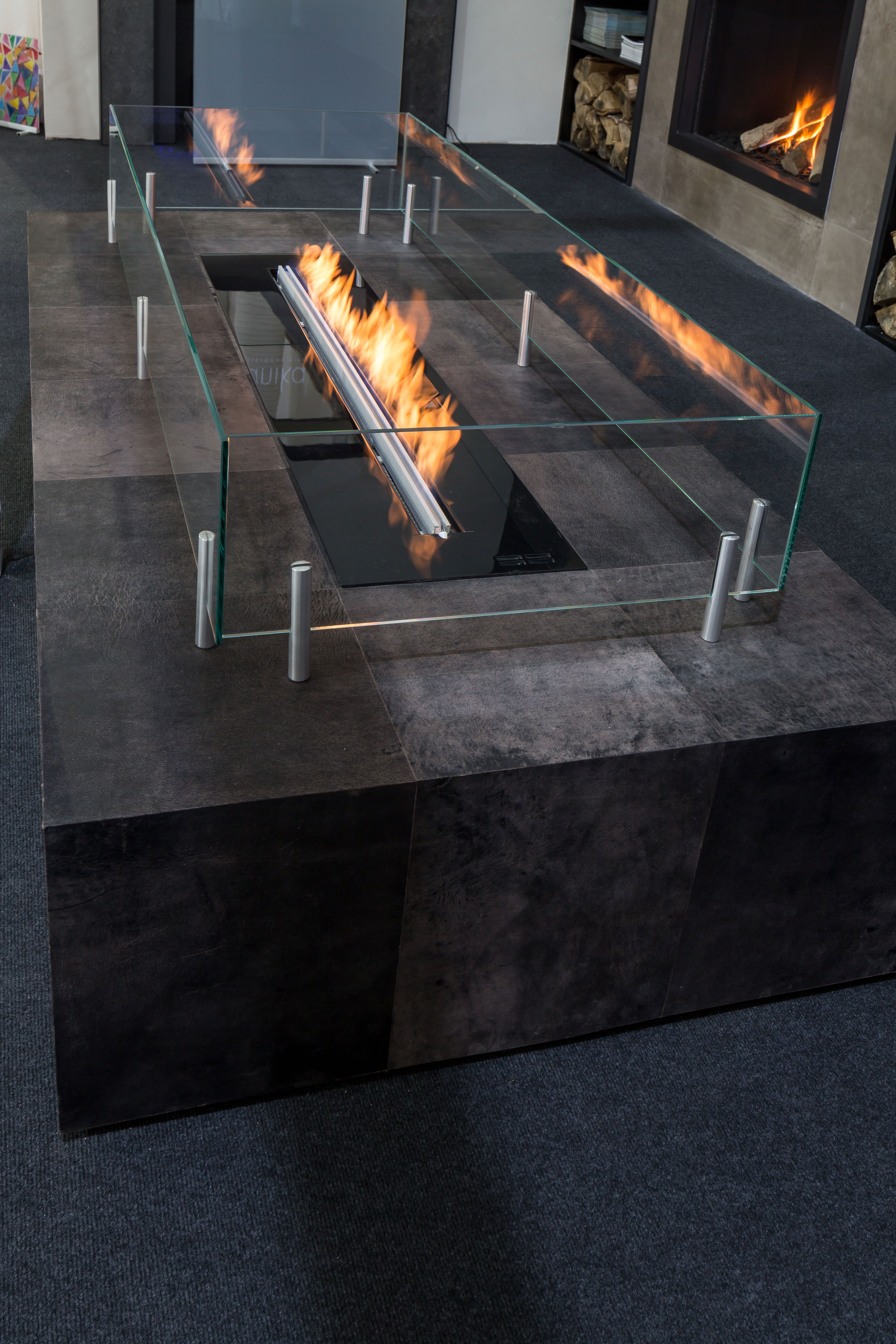 Leather Clad Custom Built Fire Table Modern Fireplace Freestanding Fireplace Fire Table [ 5760 x 3840 Pixel ]