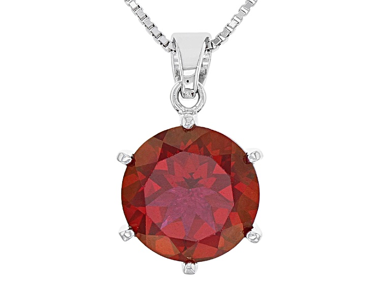 Rainbow Color Topaz Fire Red Garnet Heart-shaped Pendant Necklace Jewelry Gift