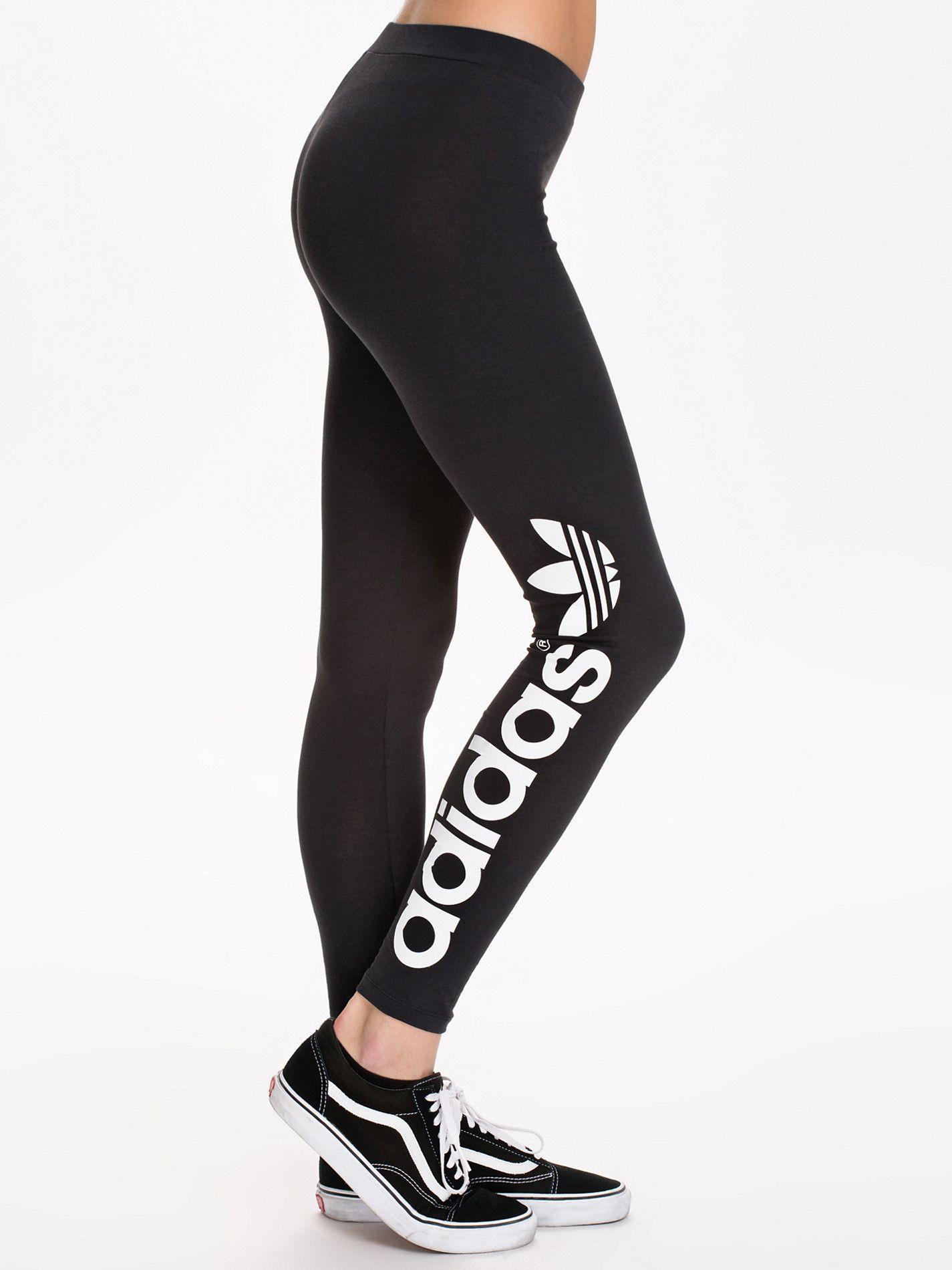 Trefoil Leggings - Adidas Originals - Black White - Leggings - Clothing -  Women - Nelly.com d6ae88a597