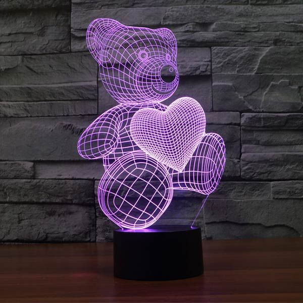 Teddy Bear With Heart Colorful 3d Led Lamp Suebee Pinterest