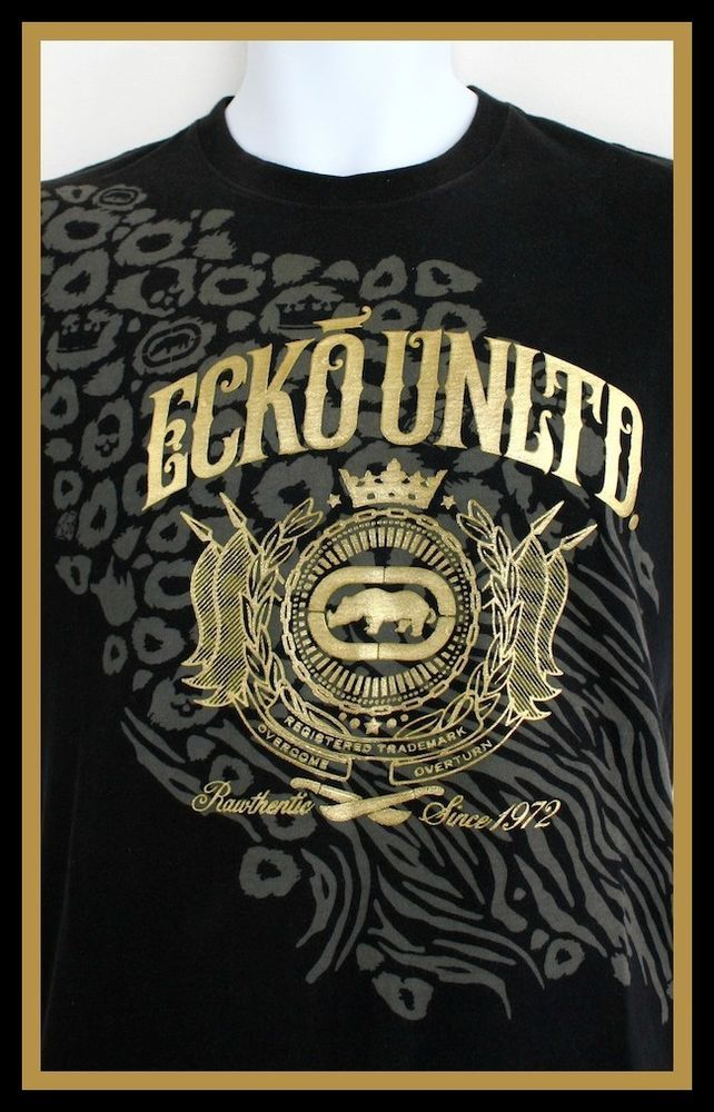 d749e0a195ef ECKO UNLTD Mens T-shirt Black & Gold embossed logo - Size Medium Stunning!