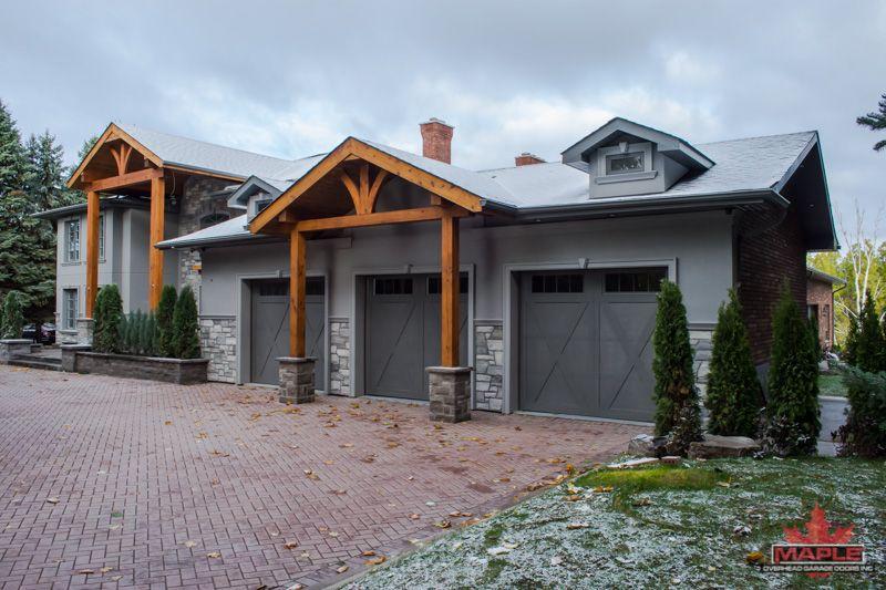 Triple Garage Door With X Overlay Iron Ore Finish And Stockbridge Windows