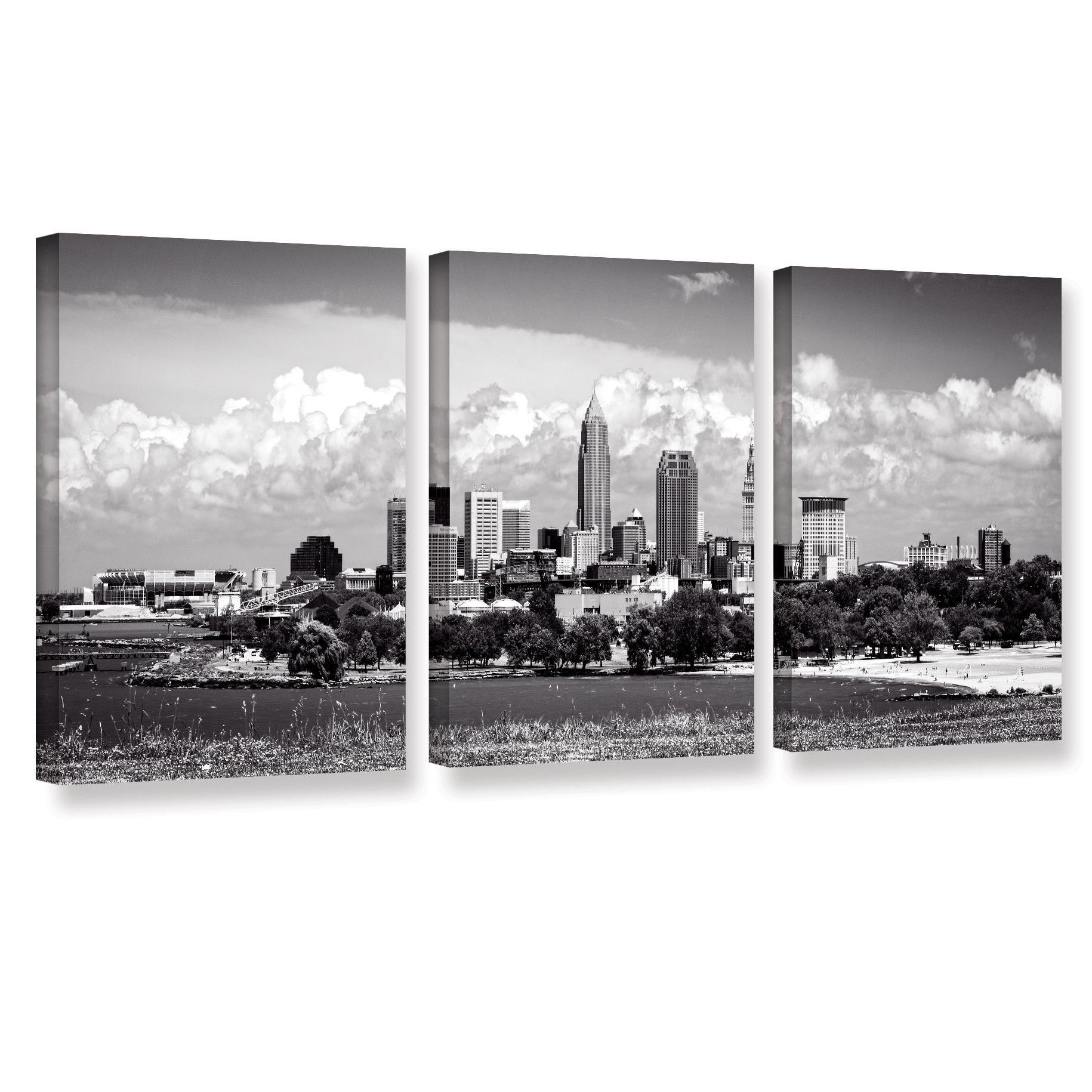 Cleveland Pano 1 by Cody York 3 Piece Photographic Print on Gallery-Wrapped Canvas Set