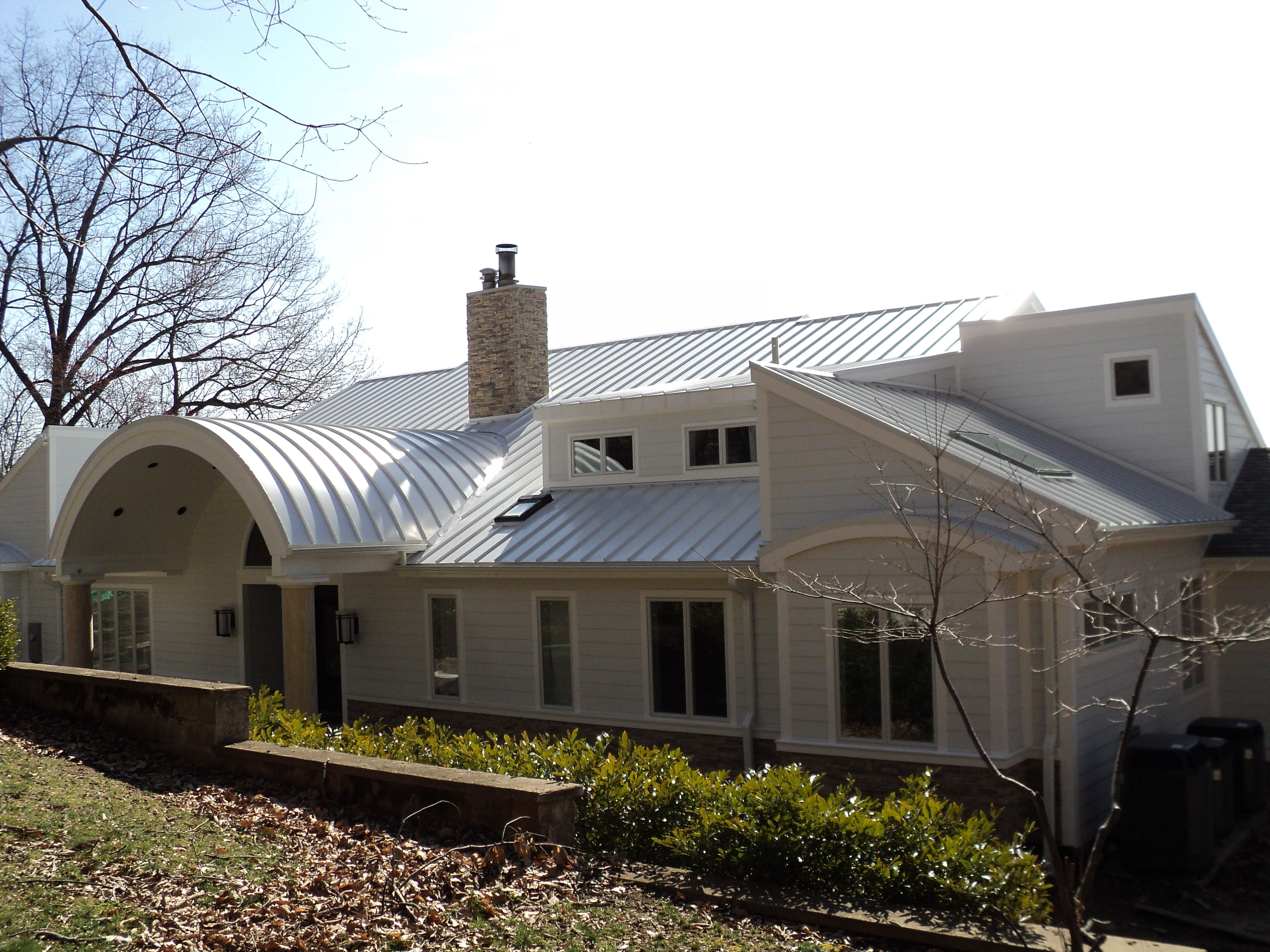 Drexel Metals Regal White Metal Roof With Radius Porch Roof Metal Roof House Styles Porch Roof