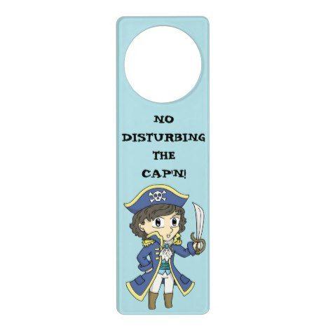no disturbing the cap n pirate door hanger cute kids