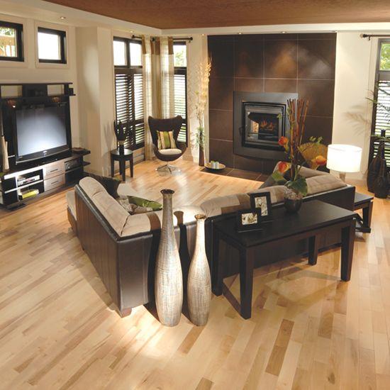 Living Room Hardwood Floor: Light Floors, Dark Feature Wall And Dark Furniture