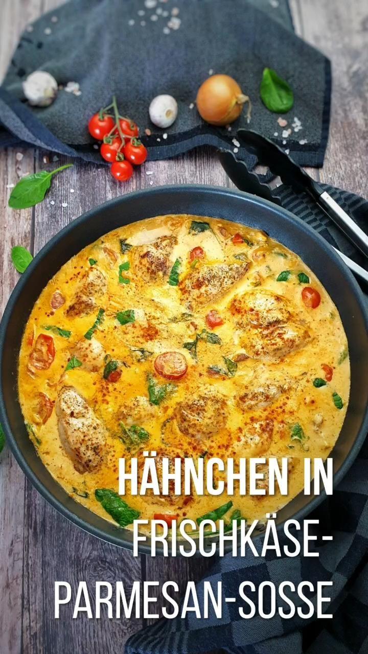 60+Hähnchen in Frischkäse Parmesan Soße, einfaches Rezept