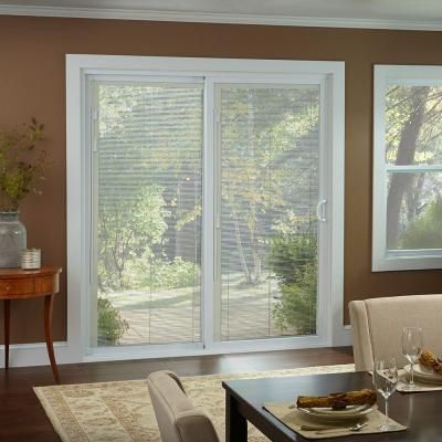 Beau 50 Series White Vinyl Left Hand Assembled Patio Door With Built In Blinds 60557LBL    The Home Depot