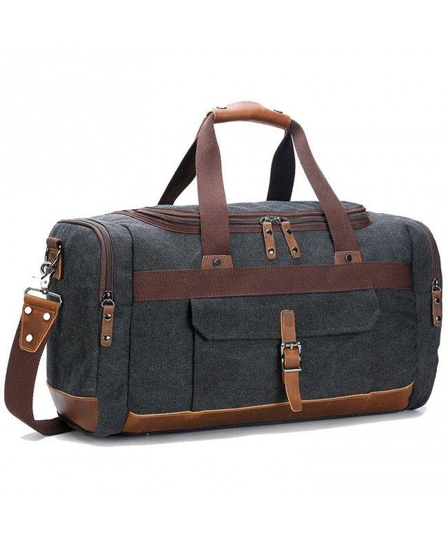 519f64726195 Overnight Genuine Leather Vintage - Big Size Dark Grey - CF12O6MX701  Bags   handbags  gifts  Style  Duffle Bags