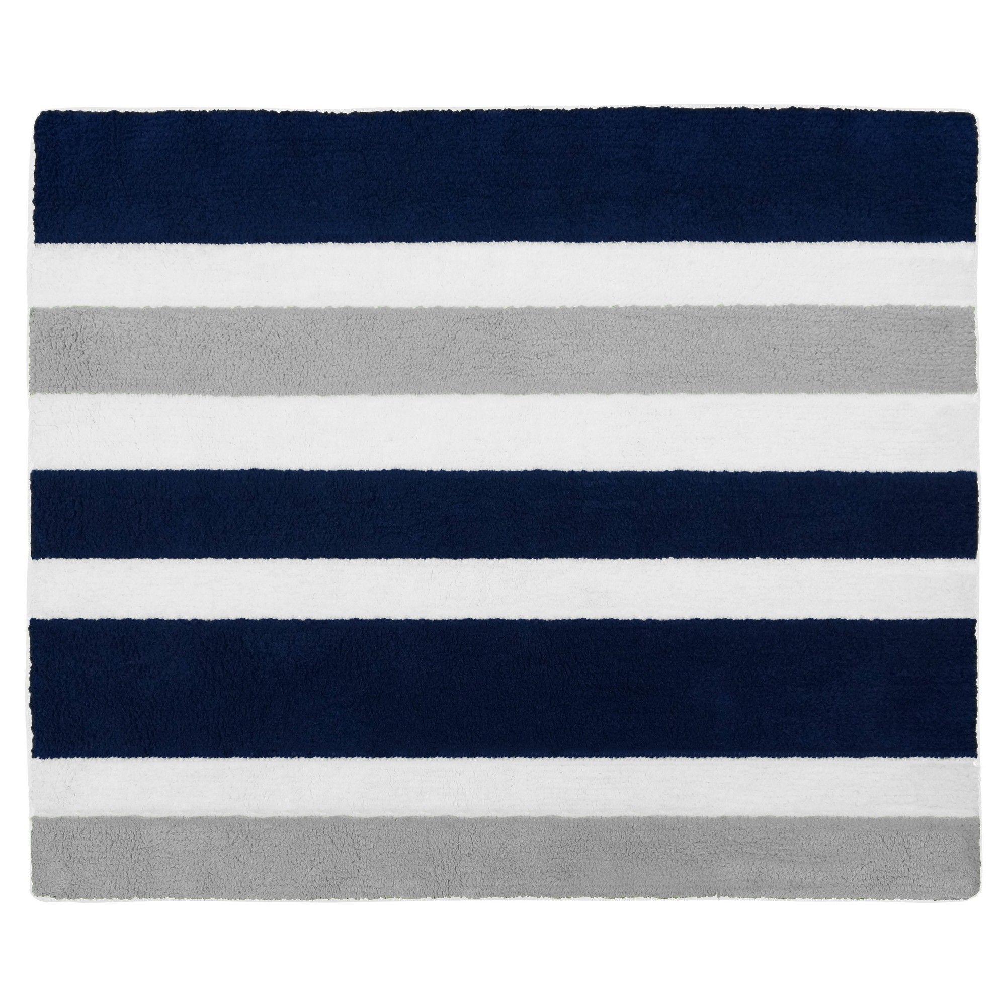 Navy Gray Stripe Floor Rug 36 X36 Sweet Jojo Designs Blue Gray Area Rug Blue Gray Bedroom Jojo Designs
