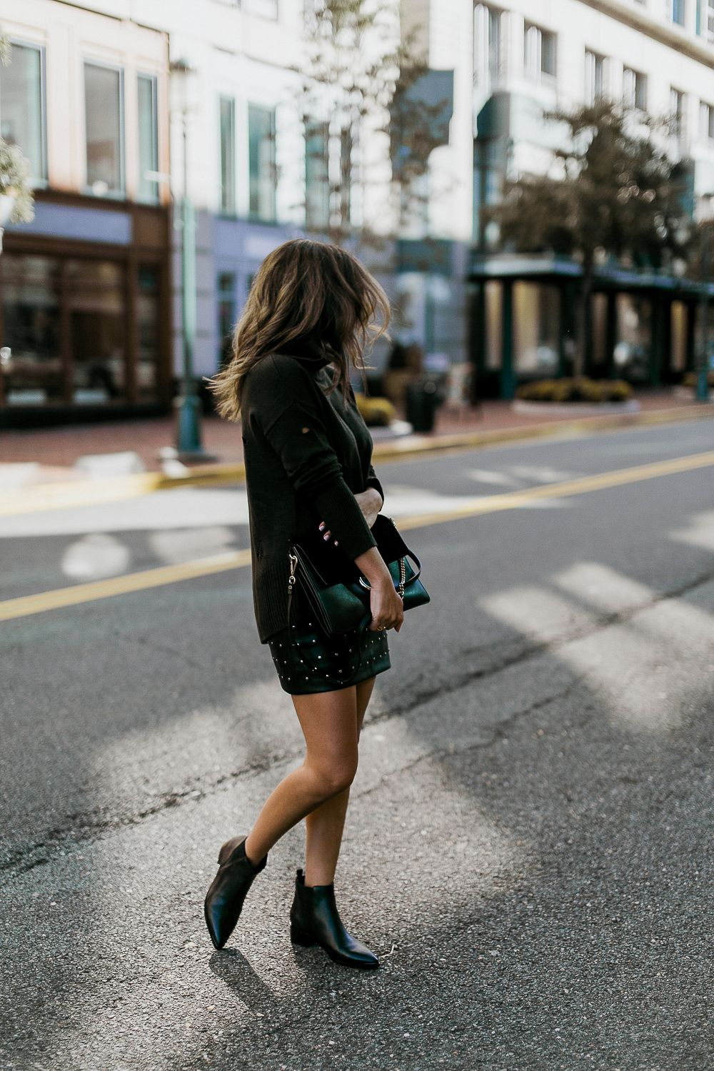 312a5666b33 studded leather skirt black + green sweater + Marc Fisher Yale black ...